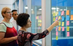 Consumer workshop with sticky notes on window